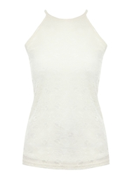 Jane Norman Racer Front Lace Top Cream