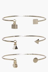 Boohoo Darcy Charm Pendant Cuff Pack Gold