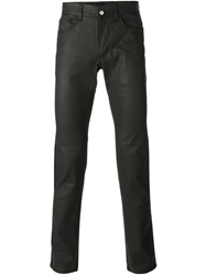 Versace Collection Faux Leather Skinny Trousers Black