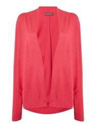 Repeat Cashmere Open Front Round Hem Cardigan Pink