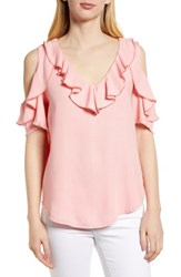 Billy T Ruffled Cold Shoulder Top Sunset