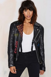 Nasty Gal Vintage Dropout Painted Leather Moto Jacket