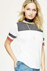 Forever 21 Contemporary Colorblock Tee Ivory Charcoal