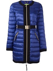 Versace Jeans Belted Puffer Jacket Blue
