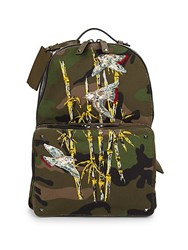 Valentino Garavani Embroidery Army Backpack Army Green