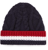 Thom Browne Striped Cable Knit Wool Beanie Navy