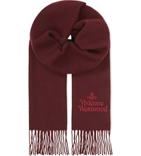 Vivienne Westwood Embroidered Wool Scarf Bordeaux