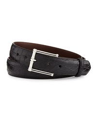 W.Kleinberg Matte Alligator Belt With 'The Chair' Buckle Black Made To Order