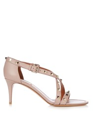Valentino Rockstud Cross Strap Leather Sandals Nude