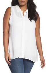 Sejour Plus Size Women's Sleeveless Tunic Blouse Ivory Cloud