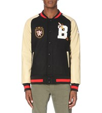 Billionaire Boys Club Embroidered Detail Wool Blend And Faux Leather Varsity Jacket Black Beige