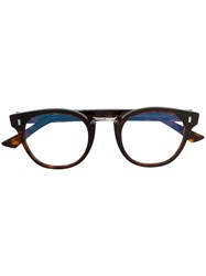 Cutler And Gross Round Frame Glasses Brown