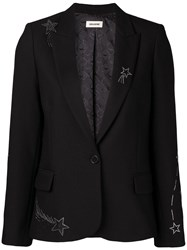 Zadig And Voltaire Star Embellished Blazer Black