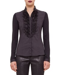 Akris Punto Embellished Button Front Shirt Black Size 2