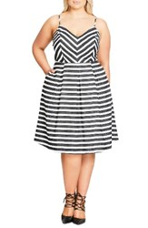 City Chic Plus Size Women's Marilyn Stripe Fit And Flare Sundress