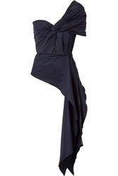 Johanna Ortiz The Art Of Dancing One Shoulder Knotted Cotton Blend Poplin Top Navy
