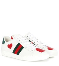 Gucci Ace Snakeskin Trimmed Leather Sneakers White