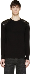 Balmain Black Leather Shoulder Patch Sweater
