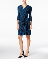 Charter Club Printed Faux Wrap Dress Only At Macy's Dark Azure Blue Combo