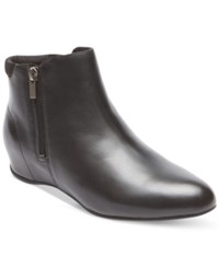 Rockport Women's Emese Wedge Booties Women's Shoes Black Leather