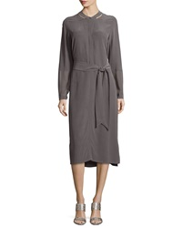 Go Silk Long Sleeve Silk Shirtdress Petite