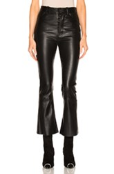 Unravel Crop Flare Leather Pants In Black