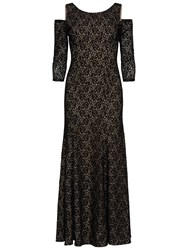 Gina Bacconi Lace Maxi Dress With Cut Out Shoulder Black