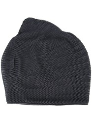 Devoa Perforated Detail Beanie Grey
