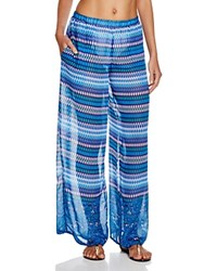 Profile By Gottex Blue Lagoon Printed Swim Cover Up Pants Multi