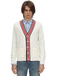 Gucci Web V Neck Wool Knit Cardigan Off White
