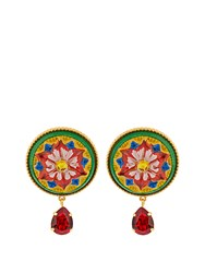Dolce And Gabbana Daisy Crystal Embellished Earrings Red Multi
