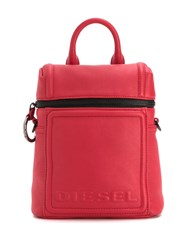 Diesel Compact Leather Backpack Red