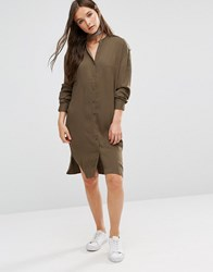 B.Young Longline Shirt Dress Khaki Green