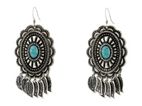Mandf Western Feather Concho Drop Earrings Silver Turquoise Earring Multi