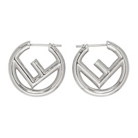 Silver Small 'F Is Fendi' Hoop Earrings
