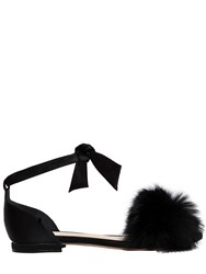 Alexandre Birman 10Mm Clarita Rabbit Fur Satin Flats