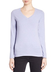 Lord And Taylor Plus Stretch Cotton V Neck Tee Peri Heather