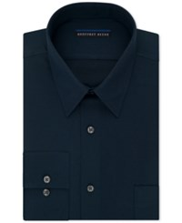 Geoffrey Beene Men's Fitted Wrinkle Free Textured Sateen Dress Shirt Blue