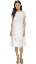 Suno Raglan Sleeve Back Pleat Dress Dot Laminated Eyelet