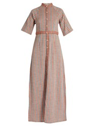 Ace And Jig Ballad Stand Collar Striped Cotton Dress Orange Multi