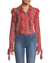 Stylekeepers New Flame Floral Chiffon Ruffled Blouse Multi