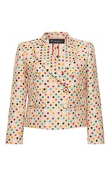 Rossella Jardini Double Breasted Tuxedo Jacket White Red Blue
