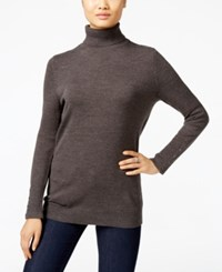 Jm Collection Button Cuff Turtleneck Sweater Only At Macy's Charcoal Heather