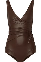 Lisa Marie Fernandez Dree Louise Glossed Wrap Swimsuit Dark Brown