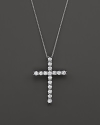 Bloomingdale's Diamond Cross Pendant Necklace In 14K White Gold 2.50 Ct. T.W.