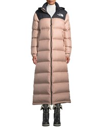The North Face Nuptse Long Duster Puffer Coat W Packable Hood Black