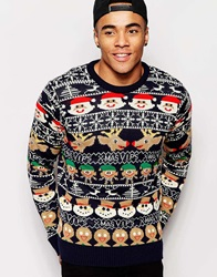 D Struct Christmas Jumper Blue