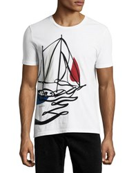 Burberry Embroidered Sailing T Shirt White