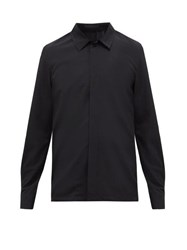 Undercover Spider Web Wool Crepe Shirt Black