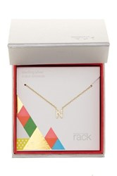 Nordstrom Rack Gold Plated Sterling Silver Pave Cz 'N' Initial Pendant Necklace Metallic